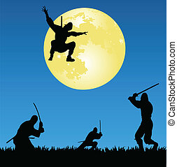 ninjas - vector illustration of ninjas