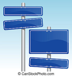 blue direction signs