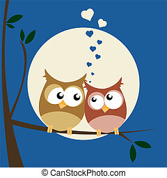 owls in love - vector illustration of owls in love