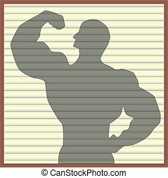 Body Builder - Silhouette of a body builder on the shades.