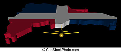 Plane taking off from Dominican Republic map flag illustration