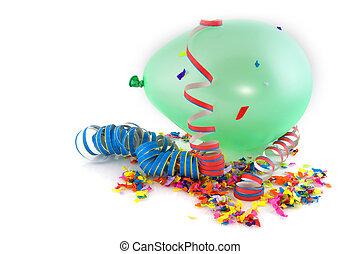 Balloon and confetti
