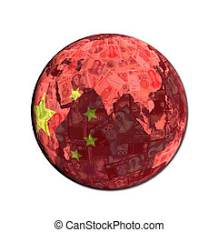 China flag globe with currency illustration