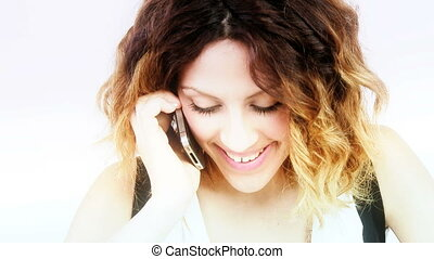 Happy arabic woman on the phone - Gorgeous female model...