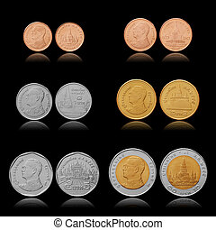Thailand coins collection 25, 50 satang, 1, 2, 5, 10 baht...