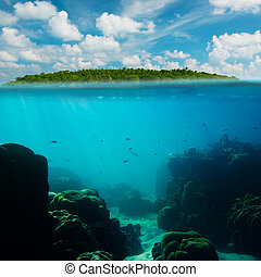 Tropical underwater shot splitted with island and sky
