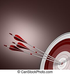 Bulls Eye, Perfect Shot, Business Concept - 3D render Three...