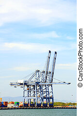 Big Industrial Port using as freight transport and global...