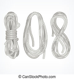 Coils of rope on white - Coils of different rope isolated on...
