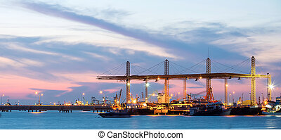 Panorama of Industrial Port - Panorama of Container stacks...