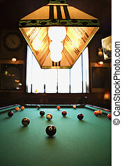 Balls on pool table. - Green billiards table with pool balls...