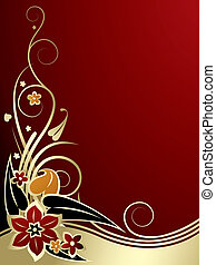 Gold-red classic background - Raster version of vector gold...