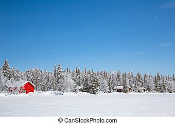 Winter Night - Winter landscape with cabin hut at night in...