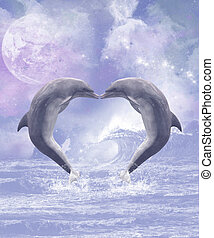 Dolphins Kisses - Two kissing dolphins forming a heart The...
