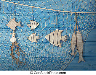 Marine life decoration and on blue shabby background
