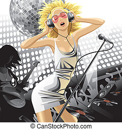 Girl at a party - vector image of dancing beautiful blonde...