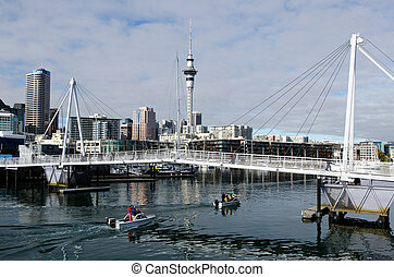 Wynyard Crossing - AUCKLAND - JUNE 02:Motor boats pass under...
