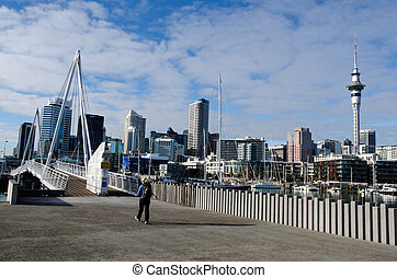 Wynyard Crossing - AUCKLAND - JUNE 02:Person cross Wynyard...
