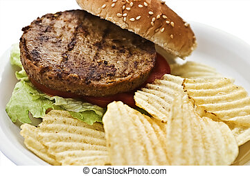 Vegetarian burger with chips on a styrofoam plate Focus is...