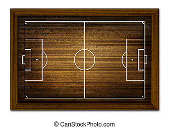 Soccer field in the wooden frame.