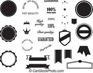 Retro Premium Quality and Guarantee badges elements