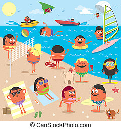 Beach - Cartoon illustration of busy beach. No transparency...