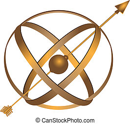 Metal Astrolabe - Metal spherical astrolabe used for basic...