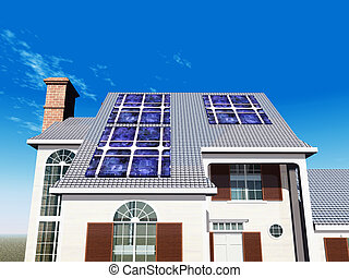 House with Solar Panels - Computer generated 3D illustration...