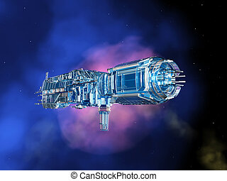 Space Station in Space - Computer generated 3D illustration...
