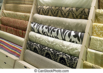 Textile industry background - Rolled up satin in a fabric...