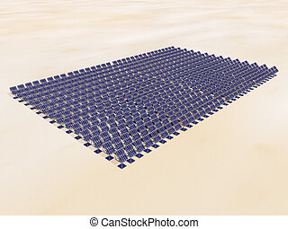 Solar Power Plant in the Desert - Computer generated 3D...