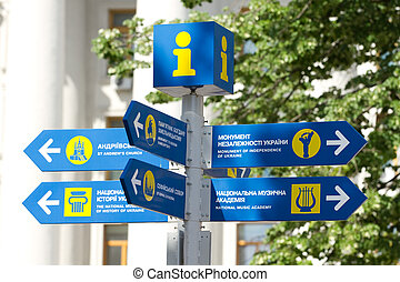 Informative pointer in Kyiv - Direction signpost in downtown...
