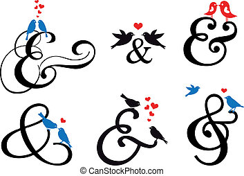 ampersand sign with birds, vector - ampersand sign with cute...