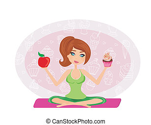 girl choosing between an apple and a cupcake
