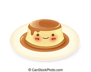 Caramel custard pudding - Vector File EPS10