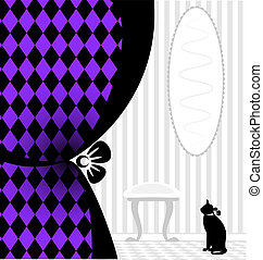background fantasy black cat - abstract white room with a...