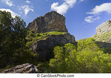 River Dulce Cliffs in Guadalajara, Spain - Scene of River...