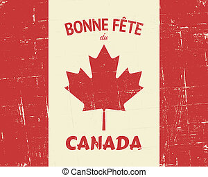 "Vintage Canada Day Poster - French ""Happy Canada Day""..."