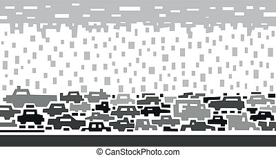 traffic on street - abstract vector illustration