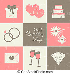 Wedding Day Set - A set of vintage style wedding day icons.