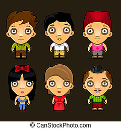 Set of funny people. Cartoon vector characters.