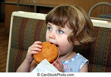 girl,  hamburger