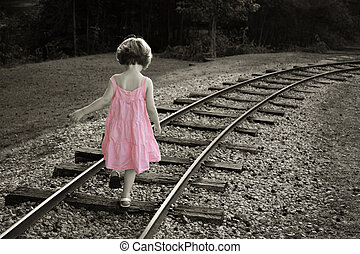 Pink dress - Colorized black and white with little girl in a...