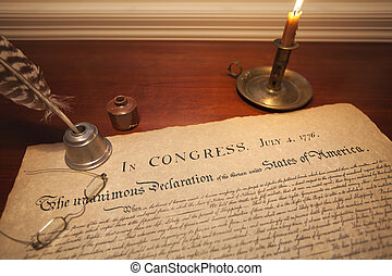 Declaration of Independence with glasses, quill pen and...