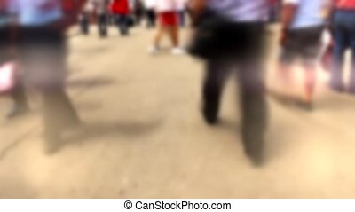 blur people - timelapse of fast walking people in city with...