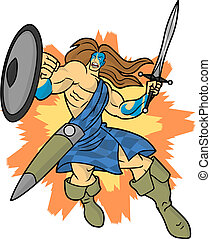 Highlander - An editable vector cartoon of a fierce...