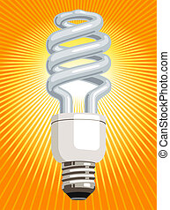 CFL light bulb - Illustration of a CFL compact fluorescent...