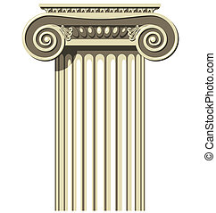 Ionic Column - Illustration of a Greek Ionic Column