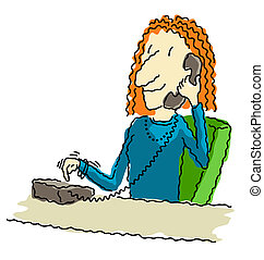 Dialing the phone - Illustration of a happy business woman...
