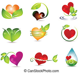 Heart and nature symbols. Bright and clean designs....